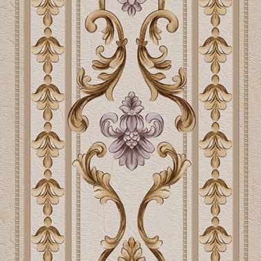 Duka Duka Sawoy Stella Dk.171603 Krem Sütunlar Üzerine  Ve Lila Desenli Renkli Duvar Kağıdı 10 M2 Renkli